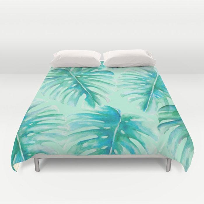 paradise-palms-mint-duvet-covers